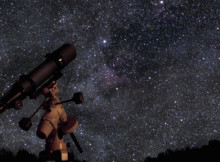 A picture of telescope pointed at the beautiful starry sky