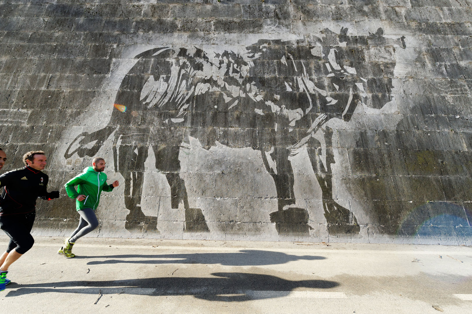 "Power-washing test stencil for ""Triumphs and Laments"" (Toro), Ponte Regina Margherita, Rome. Photo by: Marcello Melis"