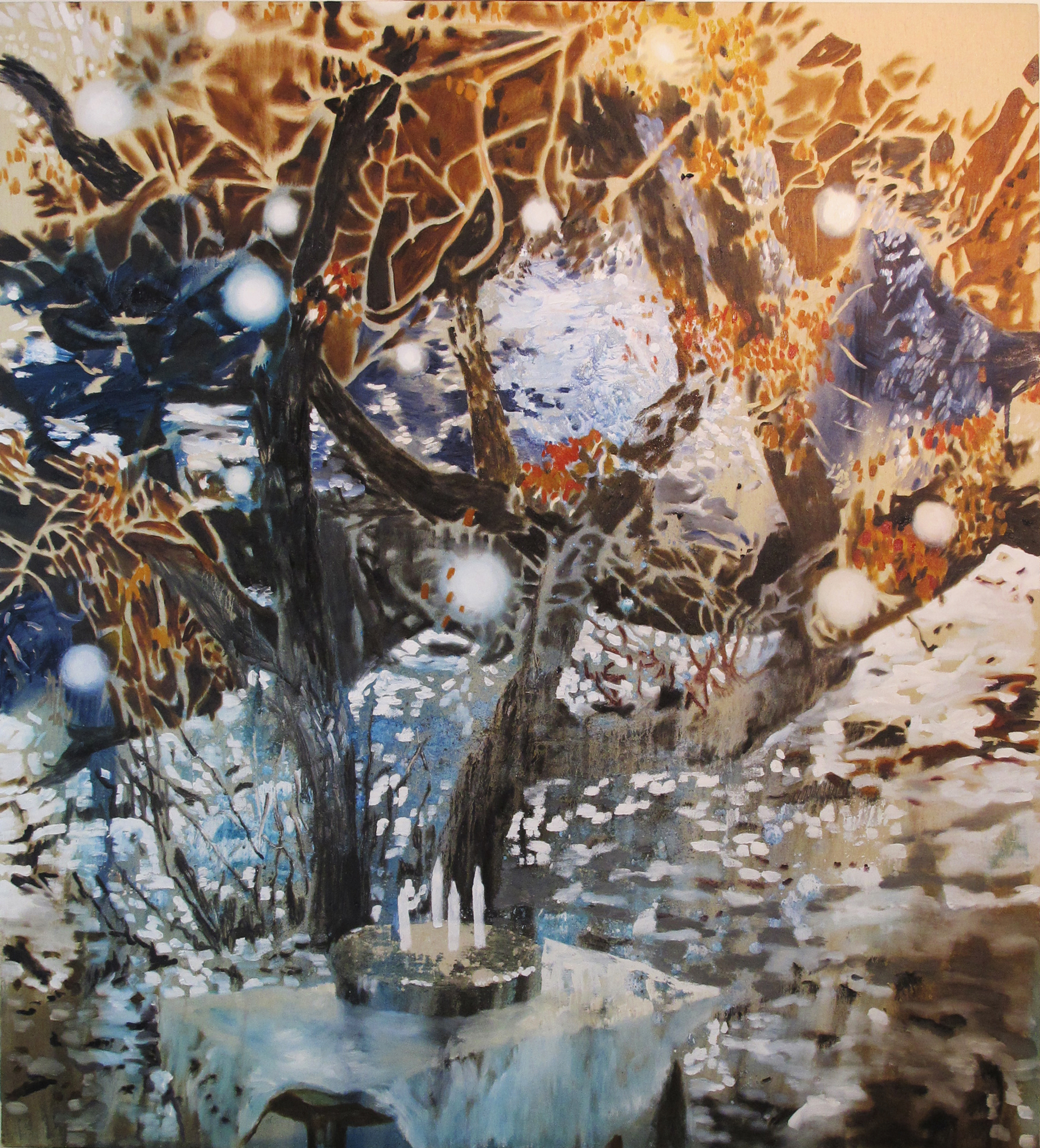 1. Zanbagh Lotfi, Memory Vague, 2015. Tecnica mista e olio su tela, 150 x 135 cm.