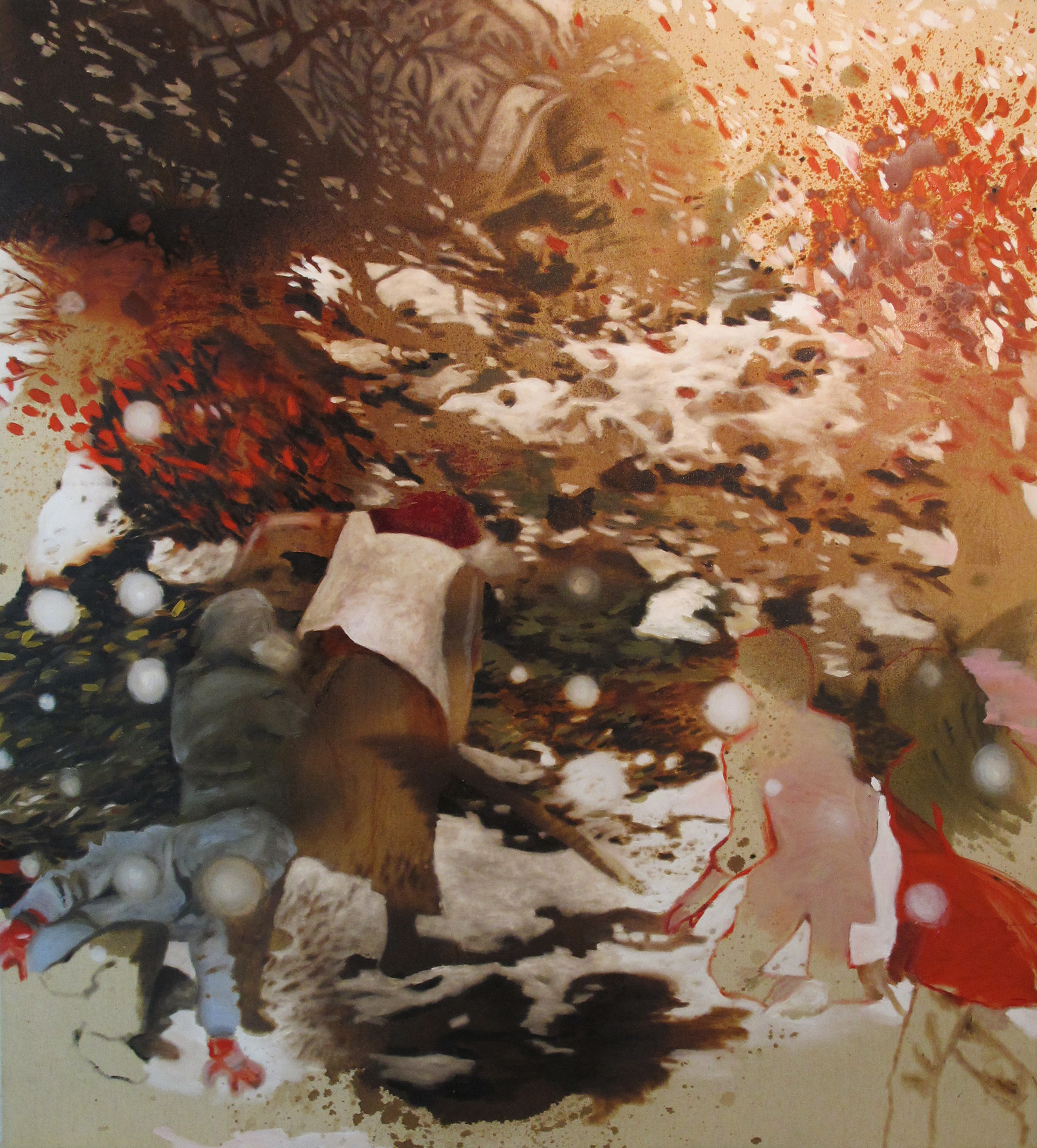 2. Zanbagh Lotfi, Memory Vague, 2015. Tecnica mista e olio su tela, 150 x 135 cm.