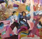 3. Zanbagh Lotfi, Memory Vague / 1361, 2015. Tecnica mista e olio su tela, 150 x 135 cm.