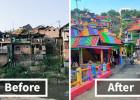 Un villaggio indonesiano è diventato un arcobaleno di colori